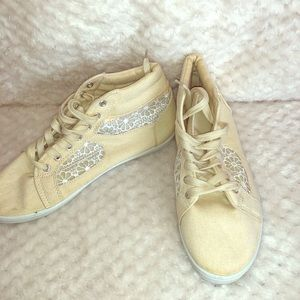 Just Be cream lace canvas sneakers